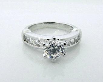 1 carat Engagement Diamond Ring - surrounded by Princess Cut Diamond - CZ Lab Created Diamond (no.311A)