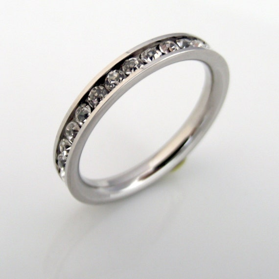 Diamond Eternity Band - White Diamond CZ Stack Ring- Stainless Steel - Silver or White Gold Band Color (no.301A)