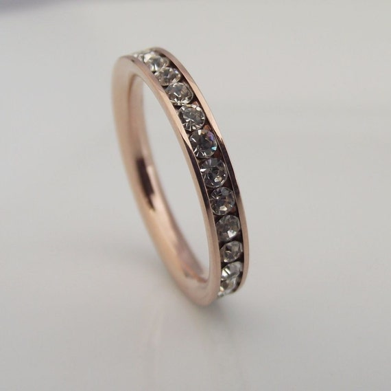 CZ Diamond Eternity Band - White Diamond CZ Stack Ring - Diamond CZ Eternity Ring - Stack Ring - Pink Rose Gold Band Color no.301C