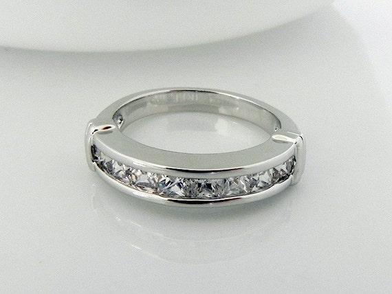 Princess Cut Diamond band - Channel Setting Half Eternity Ring - CZ Lab Created Diamond  (no.311B)