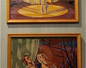 Vintage Ballet Paint by Number  Pair of framed Paintings