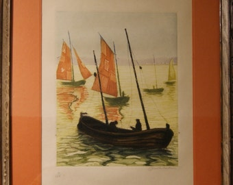 SAILBOAT  Signed Lithograph