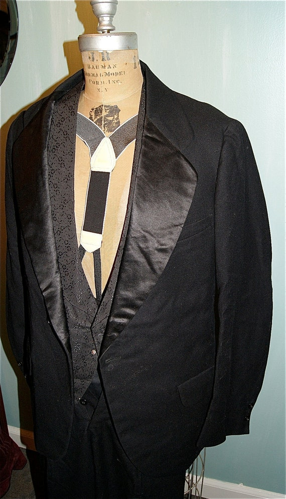 SALE  Vintage Mens Black Three Piece Tuxedo