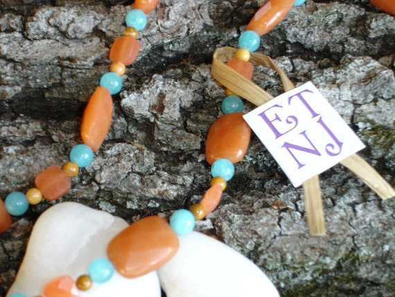 39 inch Orange and Turquoise Necklace