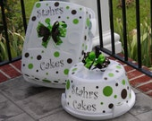 INTRODUCTORY Price  - Polka Dots, Bow and Monogram KIT for Cake Carriers, Vases, Pitchers, cAnVaS Art - SASTEAM