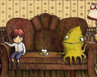 Awkward  --- Monster Art Print
