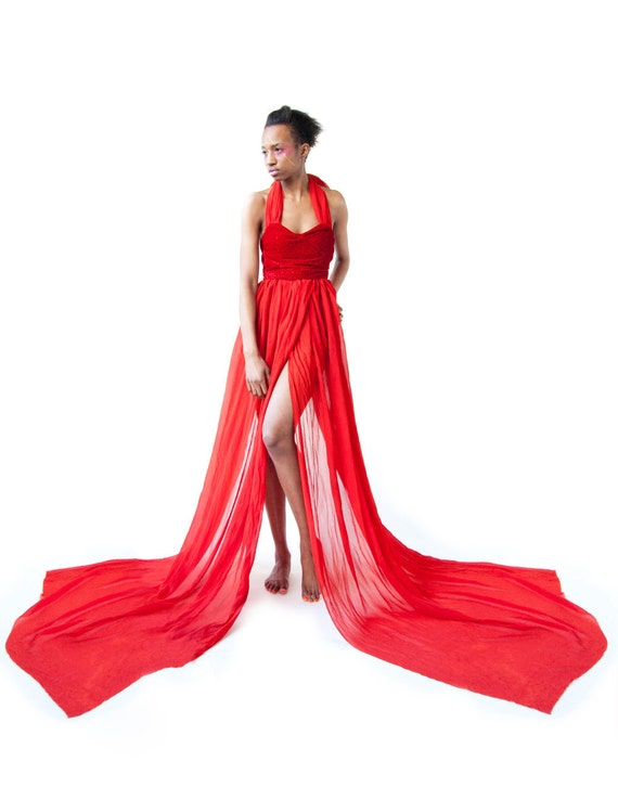 50% OFF FALL SALE: Game of Thrones Melisandre Red Silk Chiffon Maxi Dress
