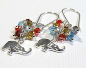 Sterling Silver Earrings with a Rainbow of Glass Crystals