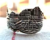 free shipping CHICAGO SKYLINE spoon ring illinois sterling silver souvenir