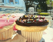 Cupcakes and Airstream Trailer Art Painting Print
