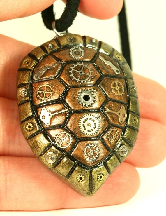 Steampunk Turtle Shell Pendant
