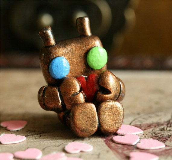 Micro Lovebot In Heart Tin - Copper