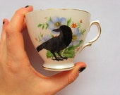 VINTAGE HAND PAINTED TEA CUP white, floral, with birds