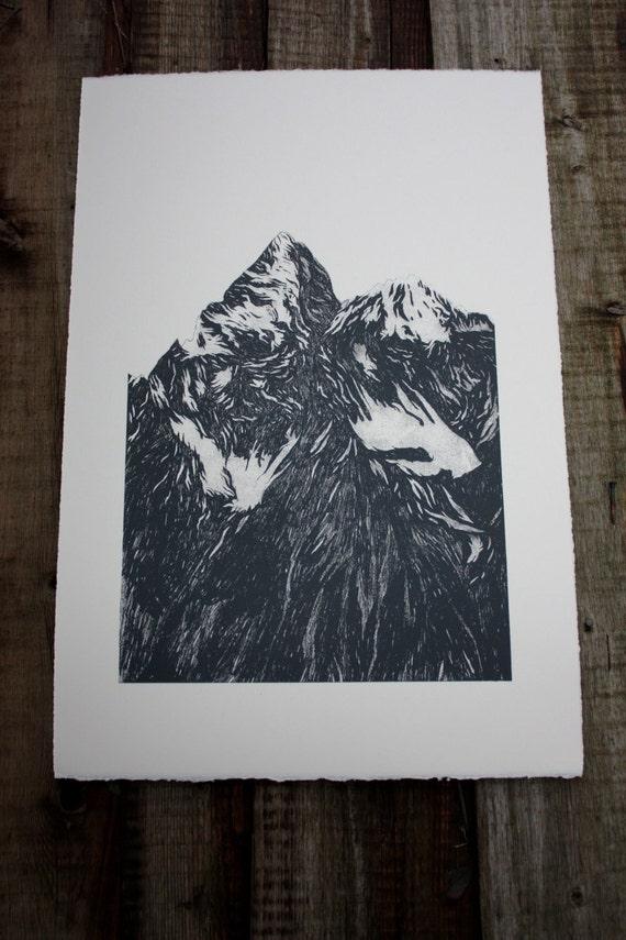 Mountain A2 SCREEN PRINT - black - Somerset off-white paper