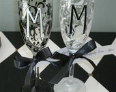 Scroll and Initial Set/2 Champagne Flutes