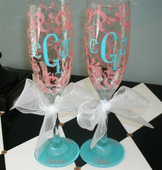 Items similar to beach wedding hand painted monogram for Painted wine glasses with initials