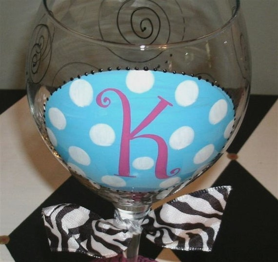 Items similar to oval initial hand painted wine glass on etsy for Painted wine glasses with initials