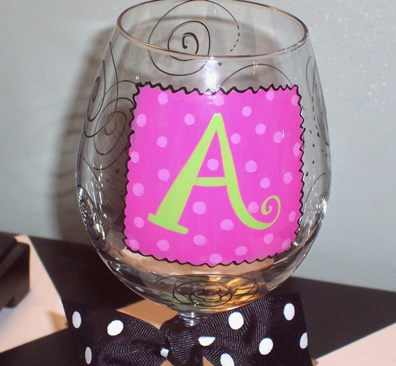 Initial wine glass for Painted wine glasses with initials
