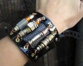 Steam Punk Sci Fi Leather and Aerospace Hardware Mens Unisex Black CuffHoliday Sale Holiday Sale