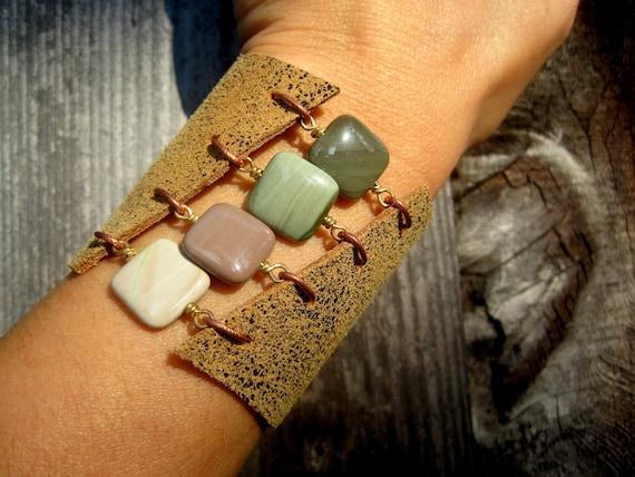 Handmade Boho Leather and Gemstone Cuff Bracelet - Imperial Jasper