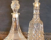 Reserved for Chanda, Vintage Decanter Set of Two, Cut Glass Diamond Pattern