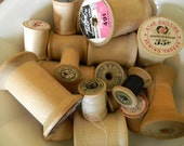 Vintage Sewing Notions, Wooden Thread Spools