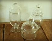 Vintage Apothecary Jars, set of three.