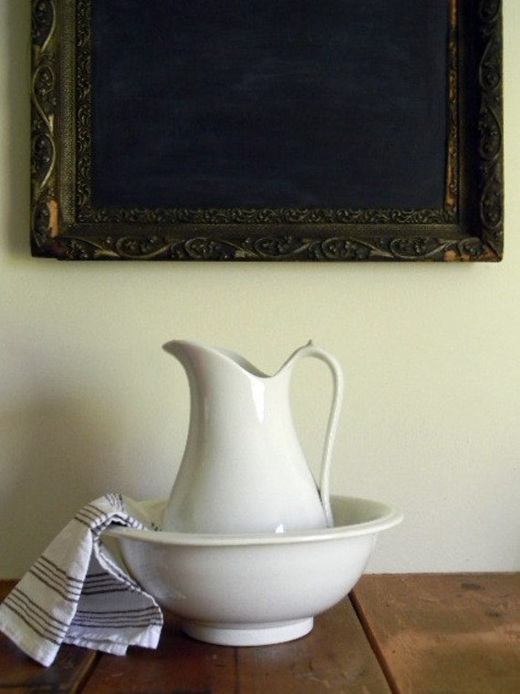 Reserved for Megan, White Pitcher and Basin, Ironstone, Farmhouse, Fresh White