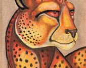 Original Cheetah Big Cat African Animal Wildlife Art