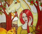 The Maiden and the Unicorn Archival Art Print / Fantasy Art by PA Artist Lynnette Shelley