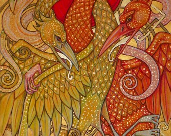 Cockatrice /  Basilisk / Snake Bird Fantasy Art Print by Lynnette Shelley