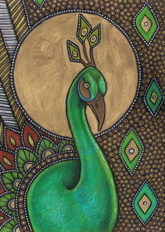 Items Similar To Colorful Art Nouveau Peacock Bird Animal