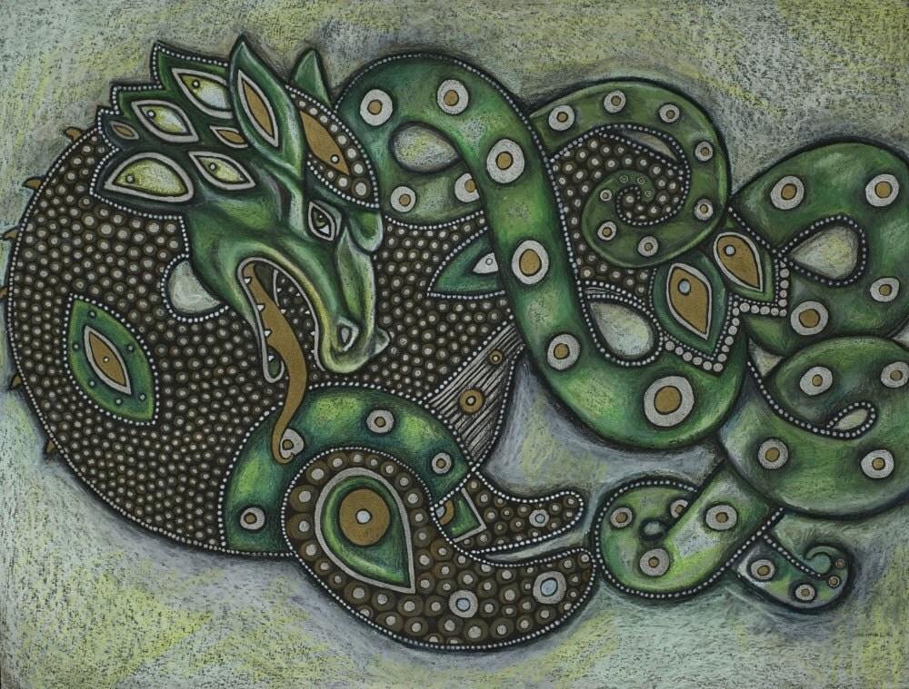Celtic Ethnic Sea Dragon Leviathon Fantasy Art Print By