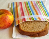 Cotton Reusable Sandwich Bag--Soft Rainbow Stripe