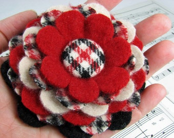 Handcut Felted Wool Flower Brooch Pin or Clip in Plaid - Red Black Cream