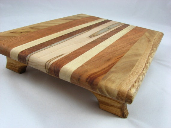 Medium Footed Cutting Board Cheese Serving Board made from Reclaimed Hardwoods