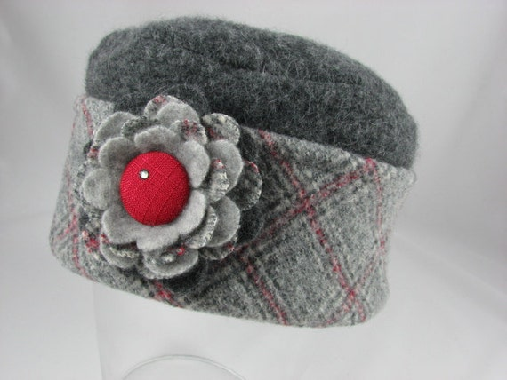 Gray and Red Tartan Plaid Pillbox Hat from Upcycled Felted Wool with Flower Pin Brooch