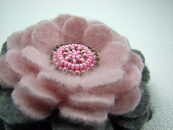 Handcut Felted Wool Flower Brooch Pin OR Clip in Cashmere - Pink and Gray with Vintage Earring Center
