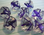 Unusual Geometric  Retro Vintage Beads -  Clear with Purple Slashes - elp414