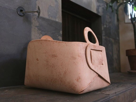 Distressed Leather Storage Tote
