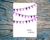 HAPPY BIRTHDAY (pennants) folded note card with envelope (purple)