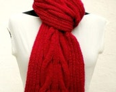 Valentines Day RED Scarf Cable Aran Knitting Hand  Knitted