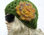 Hand crocheted  Crochet  Hat   olive green and yellow flowery