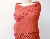 Crochet  Vest Sweater Cardigan Brick Terracotta  lambswool