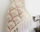 Lace Shrug Bridal Shawl Wedding Crochet Shawl Shoulder Wrap  ivory with Silvery Sparkles Shrug Winter Mohair Luxury Bridesmaid Bride
