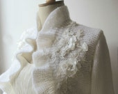 Bridal Shrug  Ruffle Bolero White with Flowery Lace Long sleeve Wedding  Shawl Wrap Capelet