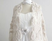 Bridal Shawl  Crochet Shawl  Bridal Shoulder Wrap Champagne with silvery sparkle Shinning