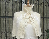Ivory Bridal Capelet and Gloves Set Wedding Shrug expedited shipping for Lisa