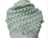 On SALE Crochet Mohair Shawl Scarf Hand Crocheted Neckwarmer Mint green  Soft Sporty