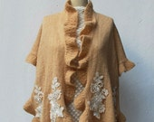 Knitting Ruffle Bridal Shawl Wrap Cream Beige Plus Size Shrug Hand Knitted Mohair with Beaded Lace